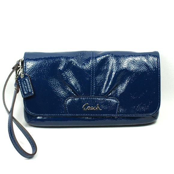 Coach Ashley Wristlet Blue Patent Leather Clutch